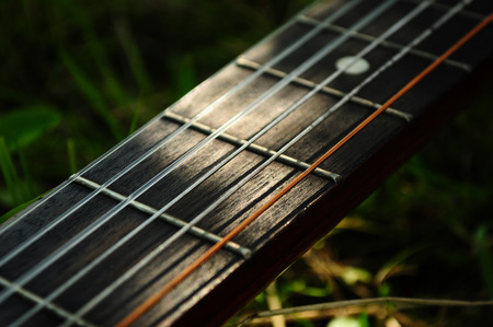 Close-up of guitar strings in the sunlight.