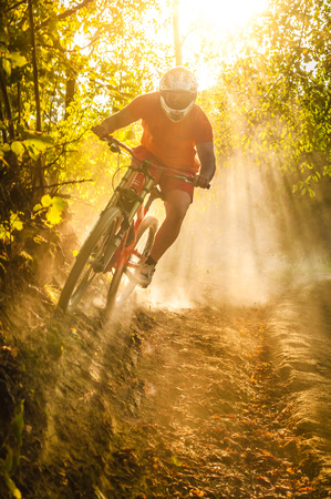 Downhill mountain biker at sunset
