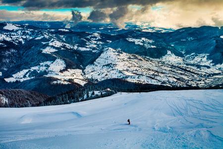 Skier in beautiful resort