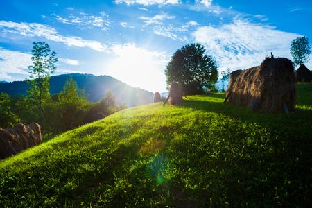 Haystack rural landscape in Romania Stock Photo