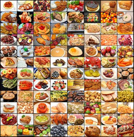 大規模な食品コラージュ 写真素材