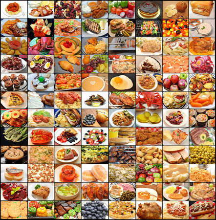 gourmet meal: Large Food Collage  Stock Photo