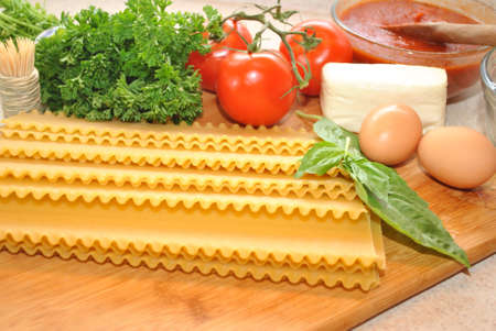 Ingredients for Homemade Lasagna photo