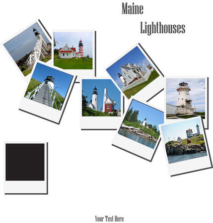 outerbanks: Old Instant Pictures of Some Maine Lighthouses  Stock Photo