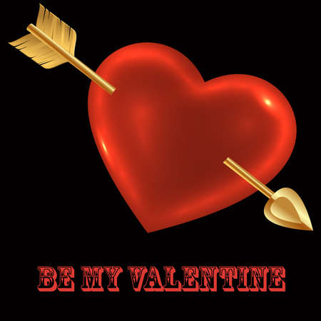 Be My Valentine-Heart Over Black  photo