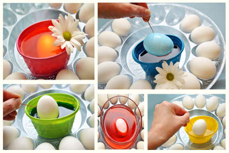 Collage of Coloring Easter Eggs  photo