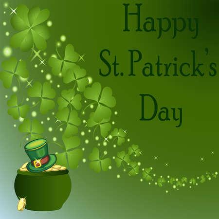 St の Patrick s 日は緑の帽子を持つ金の鍋