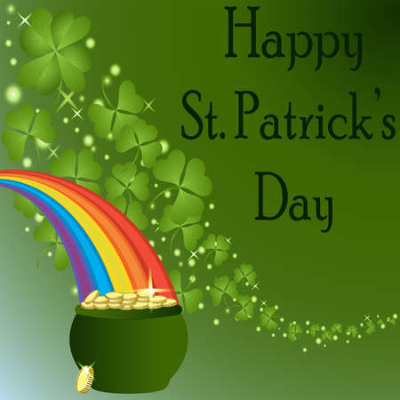 patrick: St Patrick s Day-Pot of Gold with Rainbow