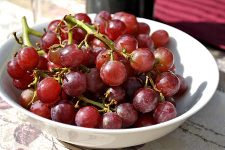 seedless: Red Grapes in a Bowl