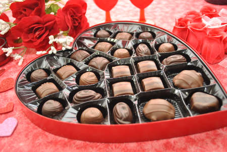boxed: A Heart Shaped Box of Valentine s Chocolates Stock Photo