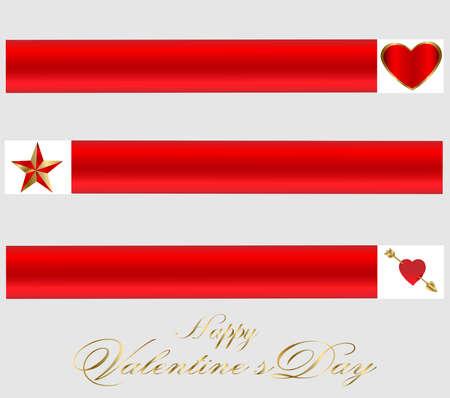 Valentine-Three Red   Gold Banners photo