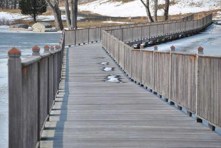 bridged: Wooden Walkway in Winter