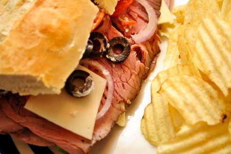 고기의: 이 풍부한 샌드위치의 근접