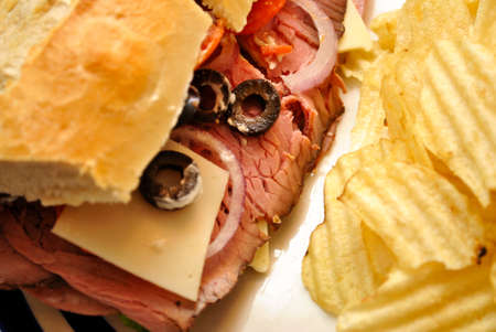 meaty: Close-Up of a Meaty Sandwich Stock Photo