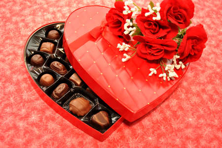 Valentine-Heart Shaped Box with Chocolates and Roses photo