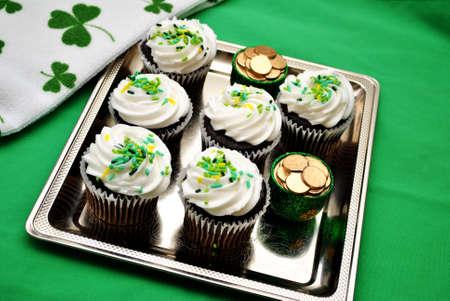 st  patty's: Gourmet Holiday Cupcake Stock Photo