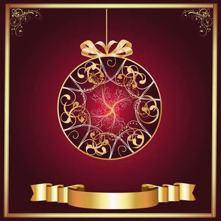 Artistic-Burgandy   Gold Ornament photo