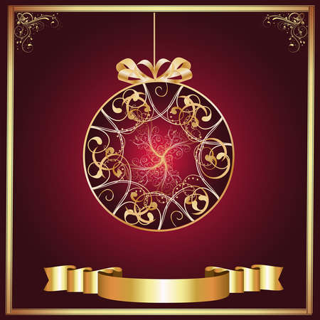 Artistic-Burgandy   Gold Ornament photo