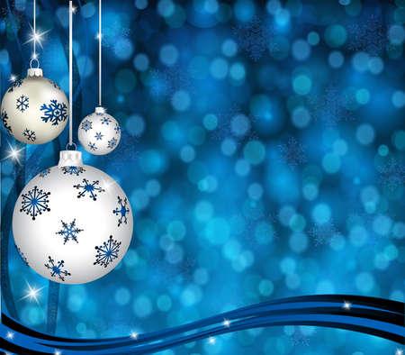 silver balls: Christmas-Blue   Silver Balls  Stock Photo