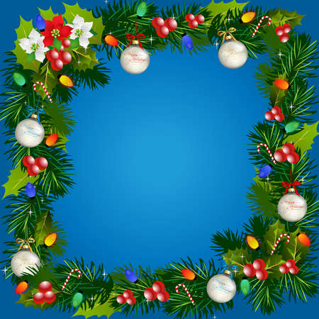 Christmas-Blue Background with Garland Border photo