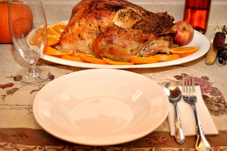 Thanksgiving Turkey with Table Setting Stock fotó