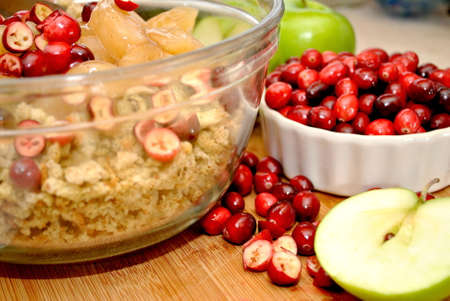 stuffing: Prepairing Canberry Apple Stuffing Stock Photo