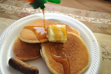 jacks: Pancakes with Syrup and Butter Stock Photo