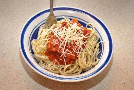 Bowl of Linguini with Fresh Parmesan Cheese