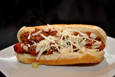 Chili Dog with Onion and Cheese