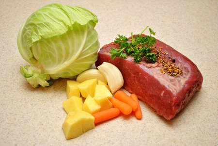st  patty's: Raw Corned Beef with Veggies and Spices