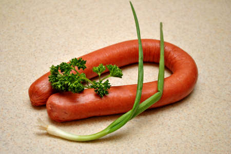 scallion: Kielbasa with Parsley and a Scallion Stock Photo