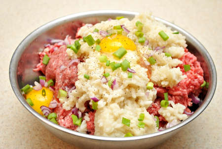 stuffing: Meat and Rice Stuffing Mix Stock Photo