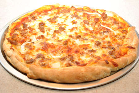 hotter: Cooked Hot Sausage and Onion Pizza Pie