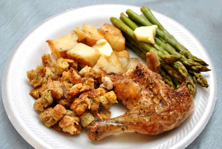 stuffing: Roasted Chicken, Stuffing, and Asparagus