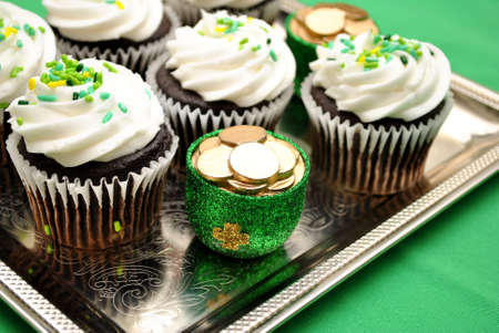 patty cake: Tray of Irish Cupcakes