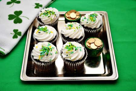 saint patty's:  Silver Tray of Irish Cupcakes