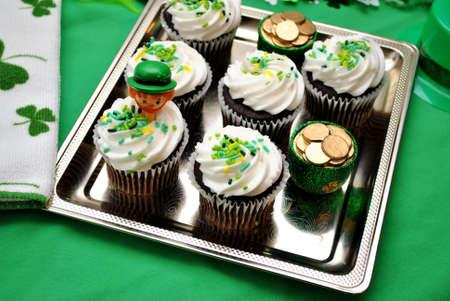 saint patty's: Decorated Irish Cupcakes