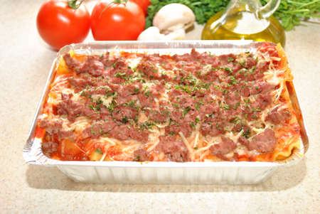 Cheeseburger Lasagna with Ingredients