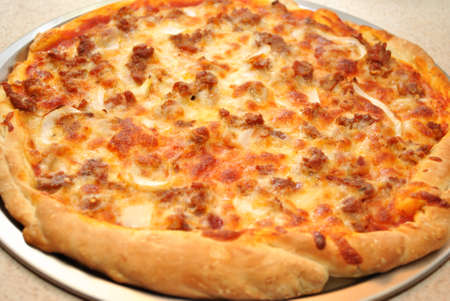Large Freshed Baked Sausage Pizza Pie photo