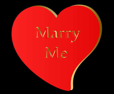 Red   Gold Heart-Marry Me
