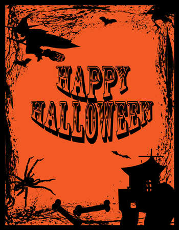 haunt: Halloween-Scarey Poster with a Witch and Spider