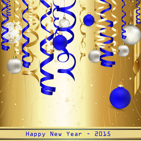 happy new years: An illustration of a blue and gold, ribbon and balls for a happy new years 2015  Illustration