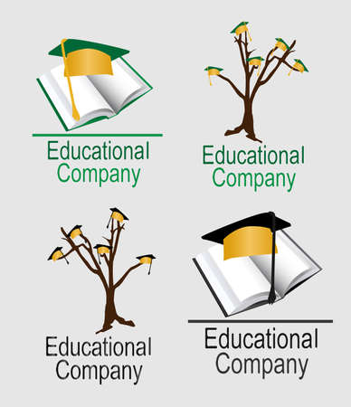 blacks: Illustration of 4 educational logos  2 green and gold   2 black and gold