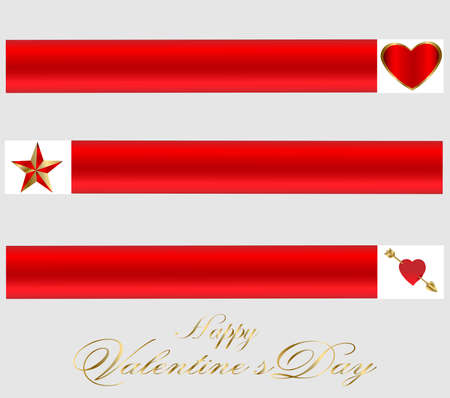 Valentine-Three Red & Gold Banners Vector