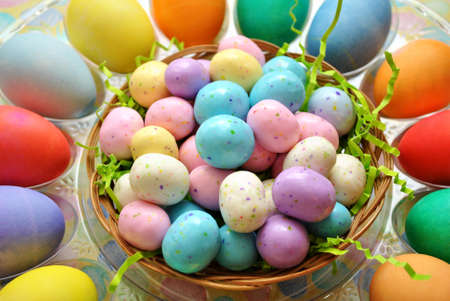 malted: Malted Candy Balls with Easter Eggs Stock Photo