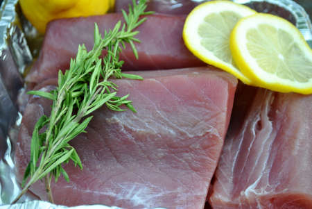 Fresh Tuna with Rosemary and Lemon Zdjęcie Seryjne