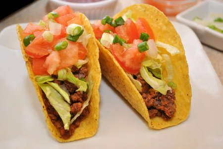 Two Beef Tacos with Healthy Vegetables photo
