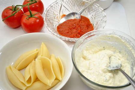 Ingredients for Baked Stuffed Pasta Shells Stok Fotoğraf