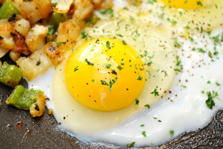 Close-Up of an Over Easy Egg Cooking photo