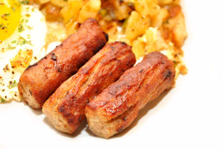 Close-Up of Three Sausage Links Served for Breakfast photo